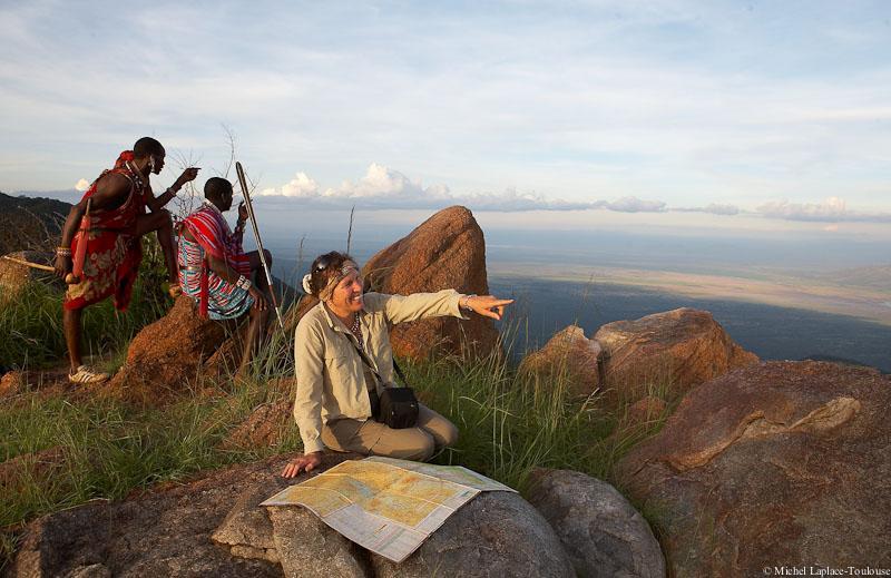 Loita Masai and Tourists during a walking safari.