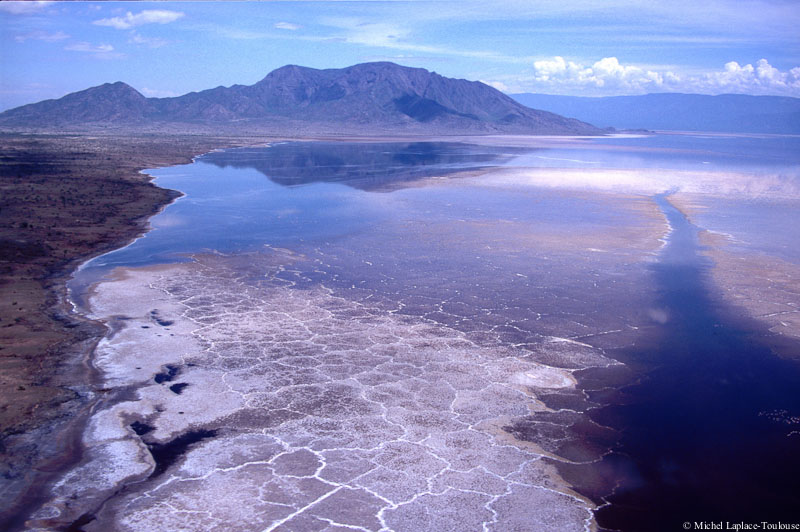 Aerial shot of Shompole mountain and Lake Magadi